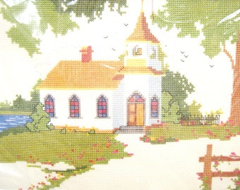 Vintage Cross Stitch Kit, Lakeside Chapel