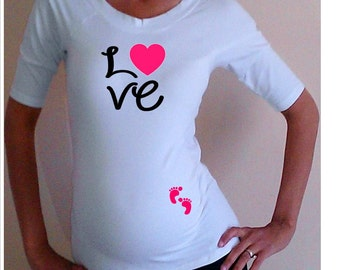 "Valentine Maternity Shirt. Cute ""Love"" Maternity Shirt with Footprints- White"