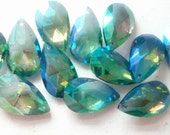 5 Teardrop Chandelier Crystals Iridescent Caribbean Green Blue Shabby Cottage Chic 38mm  AB