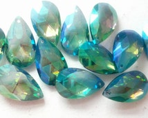 10 Teardrop Chandelier Crystals Iridescent Caribbean Green Blue Shabby Cottage Chic 38mm  AB