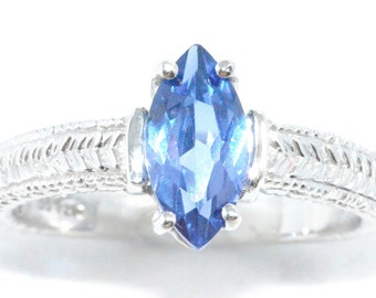 1 Carat Tanzanite Marquise Ring .925 Sterling Silver Rhodium Finish
