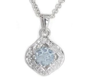 Aquamarine Round Pendant .925 Sterling Silver