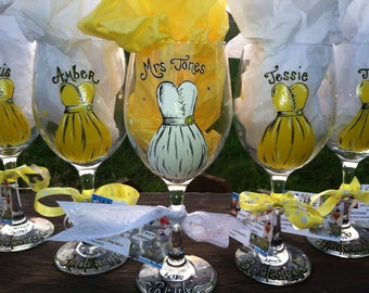 Hand painted wine glass for the bride and wedding party