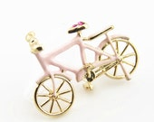 2 pcs of Metal bike charm pendant with rhinestone-pink-MP1206