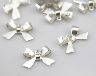 24  pcs of   brass bow charm  15x12mm  1106-silver