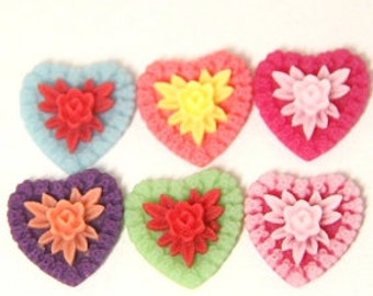 24 pcs of 6 colors of resin heart cabochon-18x18x6mm-RC0456-m