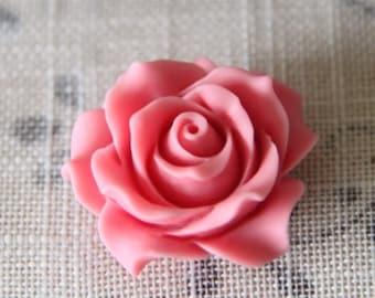 2 pcs of resin rose cabochon 36mm-0284-36-new pink