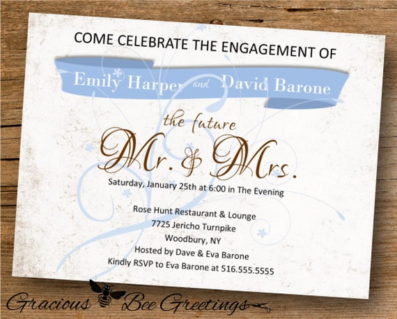Engagement Invitation - Digital Printable Invitation - The Future Mr & Mrs Engagment Invitation W1461