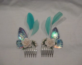 Fairy/butterfly wing hair combs, ideal for weddings, flower girls, parties etc