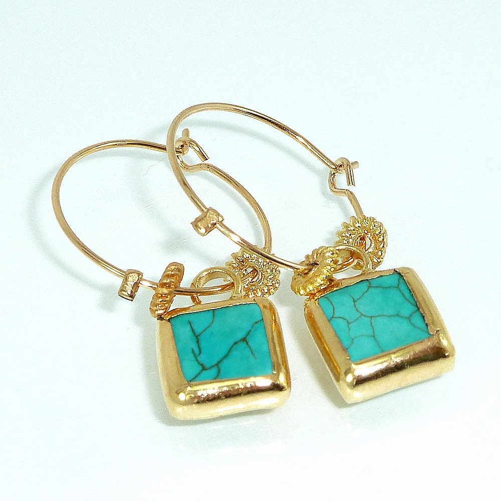 gold hoop earringsdangle turquoise earrings ocean jewelry. Black Bedroom Furniture Sets. Home Design Ideas