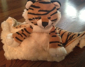 Security Blanket, Lovey, Sneakers the Tiger with Minky