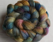 Merino Wool Roving\ Bleached Tussah Silk - Hand Painted Felting or Spinning Fiber