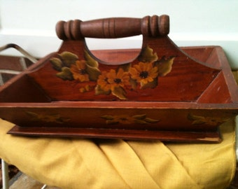 Vintage Hand Painted Wooden Tray with Handle