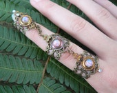 armor ring triple ring pink opal  nail ring nail claw nail tip knuckle ring vampire goth victorian moon goddess pagan witch boho gypsy style