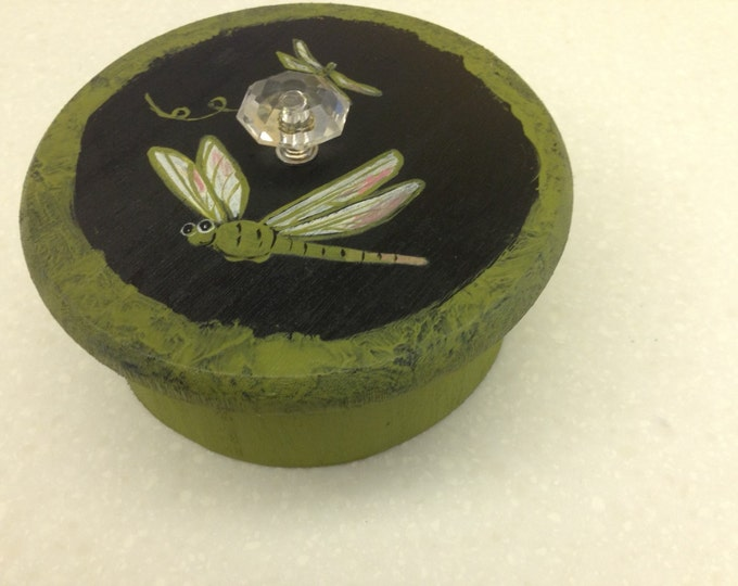 Solid Wood Round Box with Lid and Glass Knob - Dragonflies Painted in Acrylic on Top