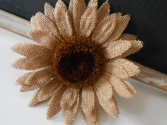 Burlap Flower / Rustic Flower / Wedding Flower / Burlap Wedding Decor / Burlap Sunflower