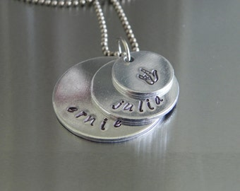 Three-layer Mother's necklace... Hand Stamped, personalized necklace