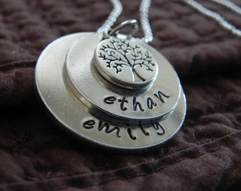 Two-layer Mother's necklace with charm... Hand Stamped, personalized necklace