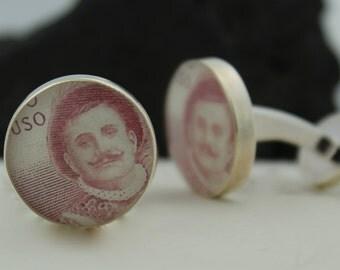 Opera Men's Cufflinks. Custom Cufflinks Handmade from Enrico Caruso Italian Stamps. Corporate Gift or Wedding Cufflinks.