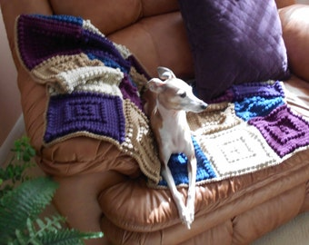 PAMPERED PET pattern for crocheted dog blanket.