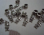10 Silver Tone  Detailed Little Girl Charms on Large Hole Bail for Bracelet