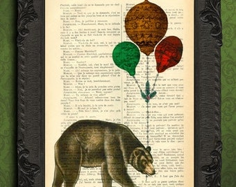 Brown bear print, bear with woodland balloons art, North America poster book page print