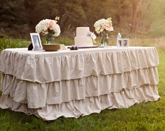 Items Similar To Tulle Ruffled Burlap Tablecloth (available In Custom U0026  Standard Sizes) On
