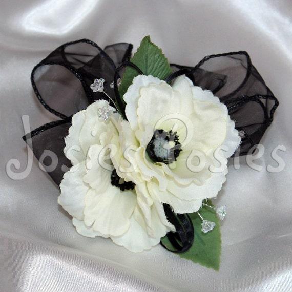 Zoe Wrist Corsage White Anemone With Black Organza Ribbon