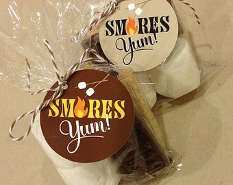 S'mores Favor Tags, Printable, INSTANT DOWNLOAD, 2 Color Variations, 2 Inch Round, 2.25 Inch Square