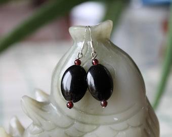 Black Oval Onyx Earrings, sterling silver hook