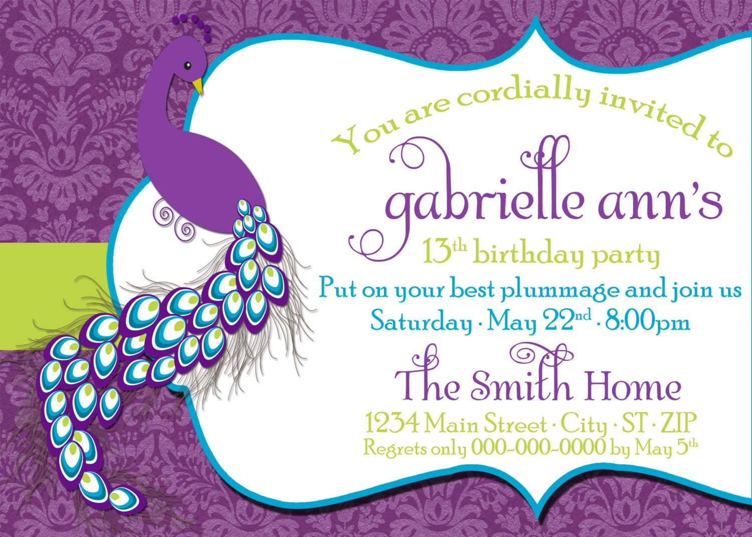 DIY Printable Peacock Birthday Invitation