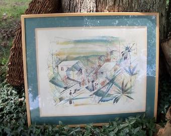Framed Art Teal Pastoral Carribean Life Scene