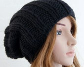 Chunky knit Large Knitted Slouchy Pure Merino wool Beanie in Black/Knitted hat/Slouchy Beanie