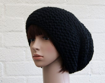 Extra large Knitted Slouchy Black Beanie hat, Oversized knitted Beanie hat, Chunky knit slouchy hat, winter hat