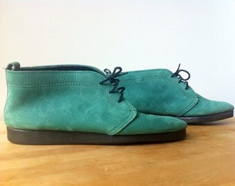 Womens Vintage Booties / turquoise sued lace up ankle boot / size 7 1/2 to 8