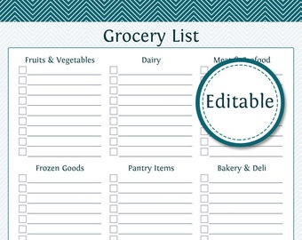 Grocery Shopping List With Categories  Fillable   Printable PDF   Instant  Download  Blank Grocery List Templates