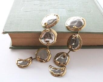 Silver Earrings Four Tiered Silver Moon Drop Earrings