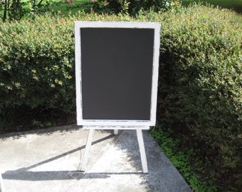 Large Distressed Chalkboard with Easel - Wedding Chalkboard - Children's Chalkboard - Shabby Chic Chalkboard - Standing Chalkboard