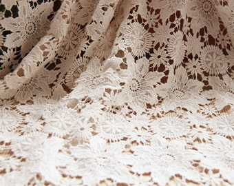 natural cotton lace fabric, ecru cotton lace, retro lace fabric, hollowed out floral lace, sale