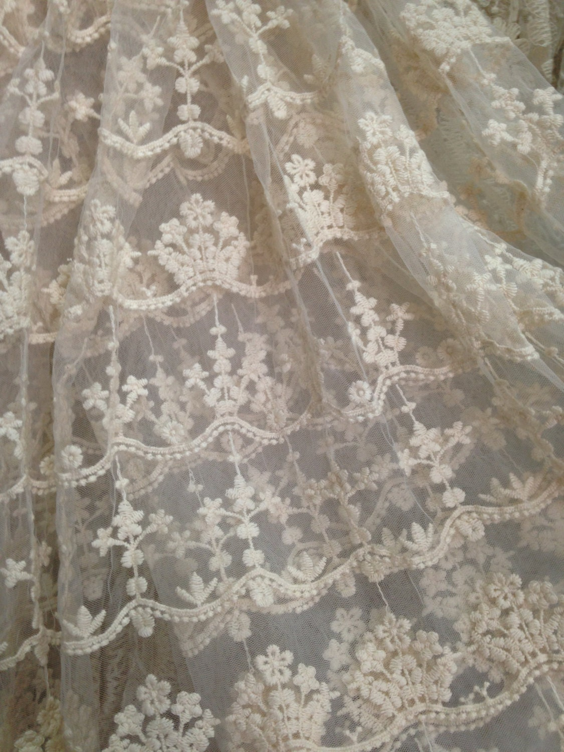 Ivory Embroidered Gauze Lace Fabric Retro Floral Lace Fabric