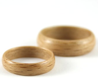 Wooden Wedding Rings Made From Beech Wood