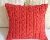Hand knit burgundy-red cushion, cable knit pillowcase, 100% cotton knitted decorative couch 14x14 throw pillow, toss pillow - Adorablewares