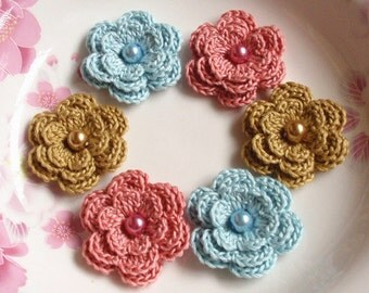 6 Crochet Flowers With Pearls In Sweet Nectar, Blue Topaz, Dijon  YH-011-52