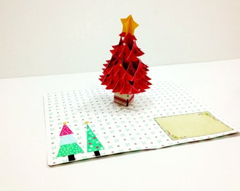Merry Christmas Card, 3D pop up, Handmade pop up card, Happy New Year, Happy Holidays, Christmas Tree, X mas, Santa, Gift card, paper card
