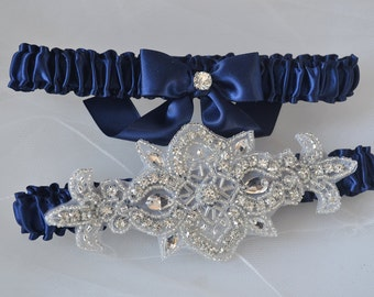 Navy Blue Garters, Wedding Garter Set, Toss Garter, Keepsake Garter, Bridal Garter Set, Navy Garters, Heirloom Garter Set, Satin Garter Set