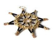 decorative black and gold star ornament, seed bead star for Christmas, tree ornament or gift tag, decoration item - Kreativprodukte