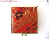 20% OFF CIJ SALE Vintage Compact Mirror - Orange and Golden - Flowers Pattern - PortugueseWonders