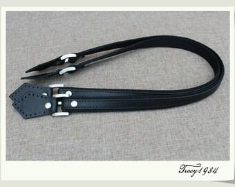 1 Pair 25 inch Black Full-grain Leather Bag Handles