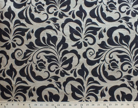 Burlap damask small leaf 47 printed jute burlap fabric for Fabric printing