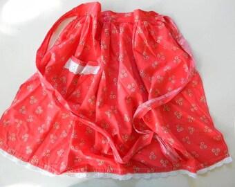 vintage red floral apron